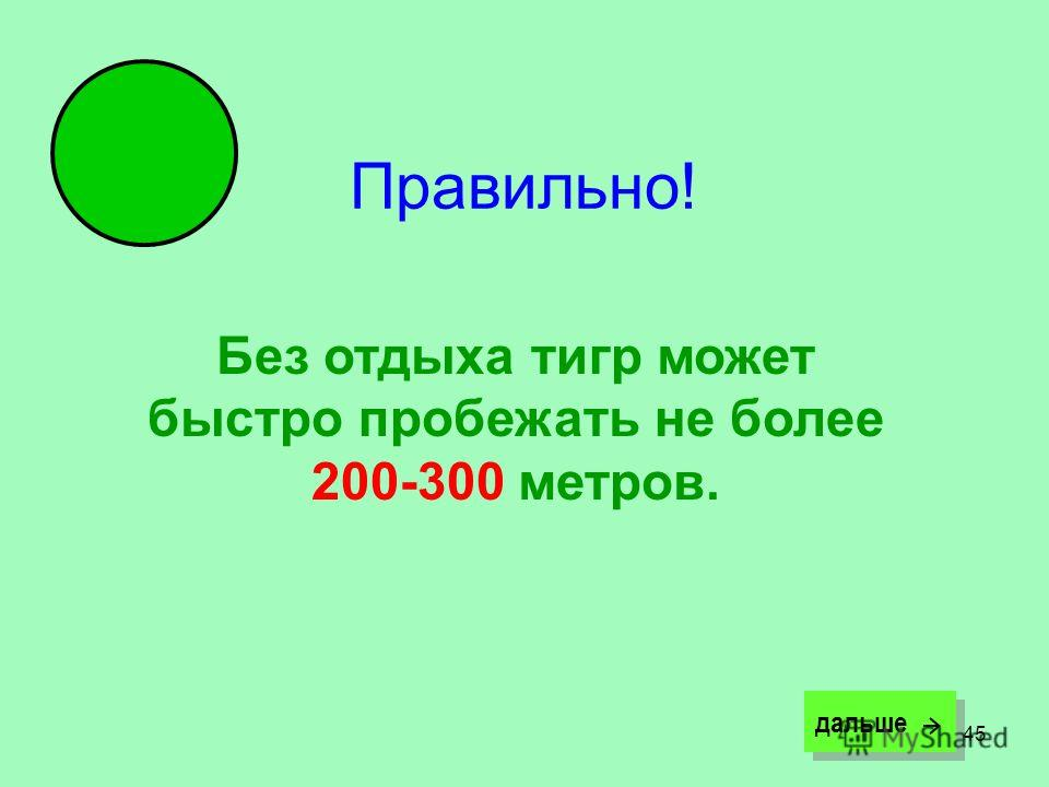 45 Правильно! Без отдыха тигр может быстро пробежать не более 200-300 метров. дальше