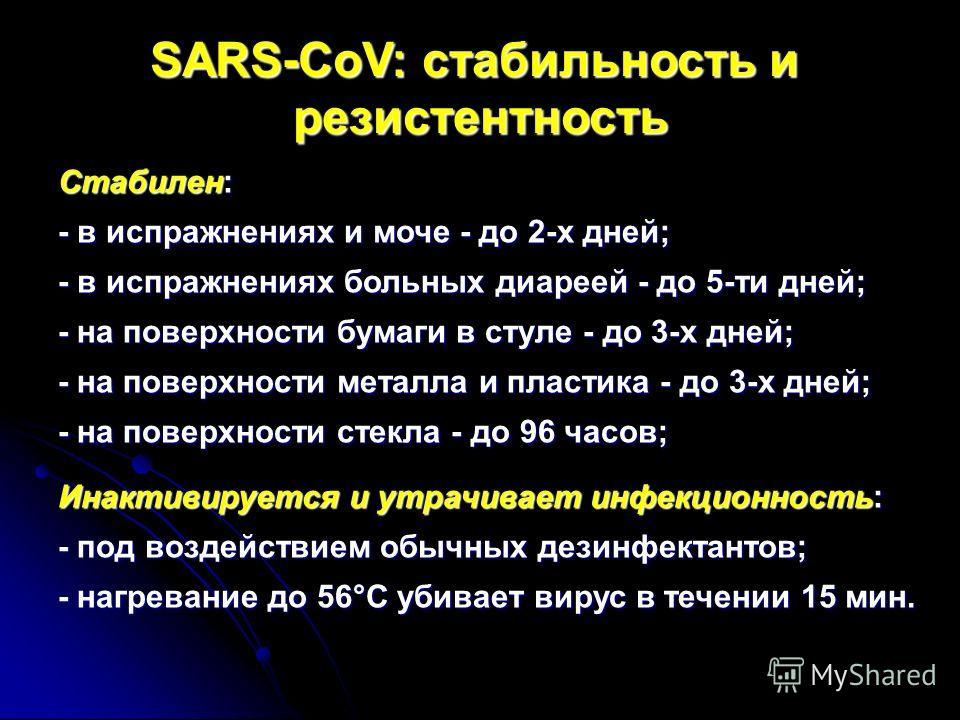 SARS-CoV: стабильность и резистентность Стабилен: - в испражнениях и моче - до 2-х дней; - в испражнениях больных диареей - до 5-ти дней; - на поверхности бумаги в стуле - до 3-х дней; - на поверхности металла и пластика - до 3-х дней; - на поверхнос
