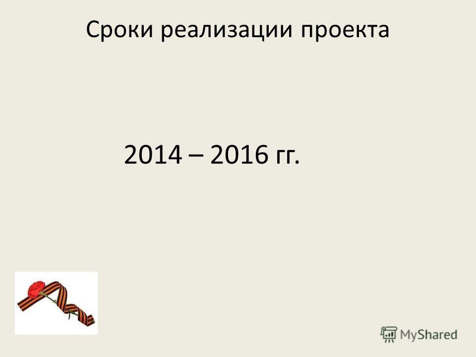 Сроки реализации проекта 2014 – 2016 гг.