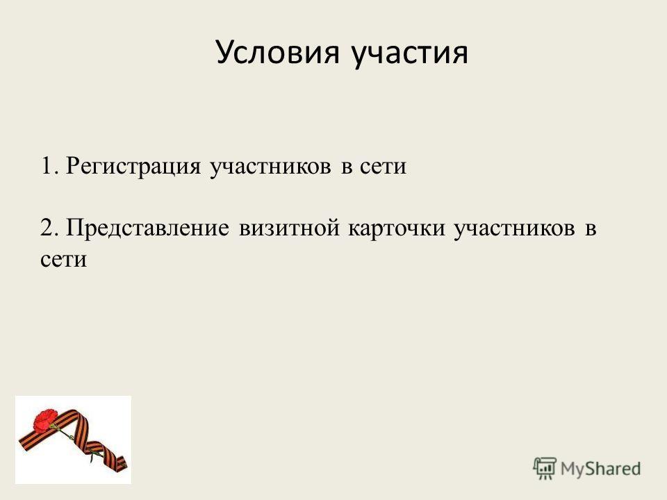 Условия участия 1. Регистрация участников в сети 2. Представление визитной карточки участников в сети