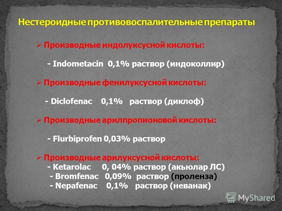 Производные индолуксусной кислоты: - Indometacin 0,1% раствор (индоколлир) Производные фенилуксусной кислоты: - Diclofenac 0,1% раствор (диклоф) Производные арилпропионовой кислоты: - Flurbiprofen 0,03% раствор Производные арилуксусной кислоты: - Ket