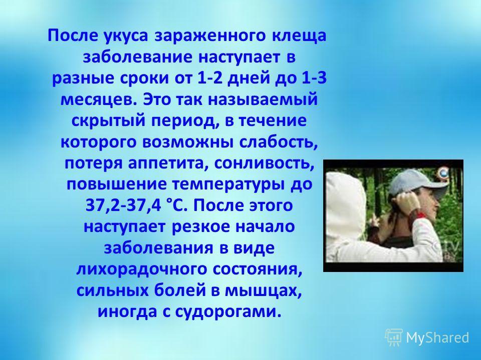После укуса зараженного клеща заболевание наступает в разные сроки от 1-2 дней до 1-3 месяцев. Это так называемый скрытый период, в течение которого возможны слабость, потеря аппетита, сонливость, повышение температуры до 37,2-37,4 °С. После этого на