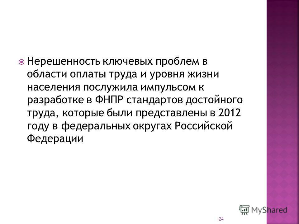 Нерешенность ключевых проблем в области оплаты труда и уровня жизни населения послужила импульсом к разработке в ФНПР стандартов достойного труда, которые были представлены в 2012 году в федеральных округах Российской Федерации 24
