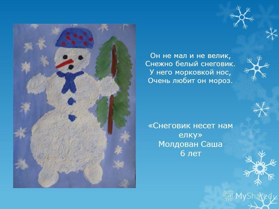 Он не мал и не велик, Снежно белый снеговик. У него морковкой нос, Очень любит он мороз. «Снеговик несет нам елку» Молдован Саша 6 лет