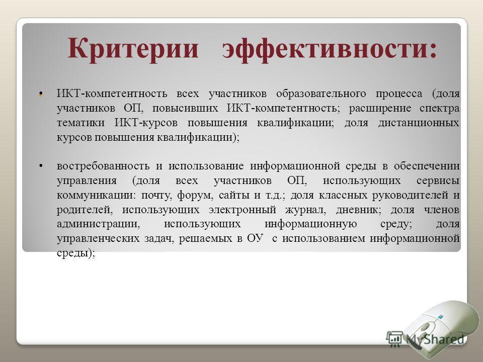 Критерии эффективности: ИКТ-компетентность всех участников образовательного процесса (доля участников ОП, повысивших ИКТ-компетентность; расширение спектра тематики ИКТ-курсов повышения квалификации; доля дистанционных курсов повышения квалификации);