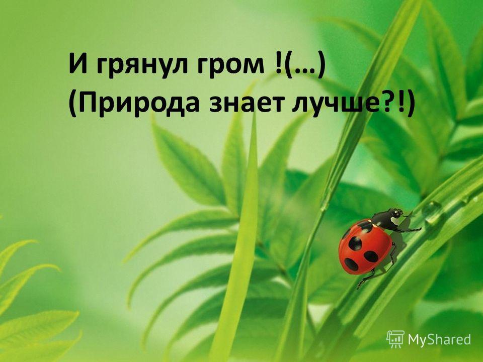 И грянул гром !(…) (Природа знает лучше?!)
