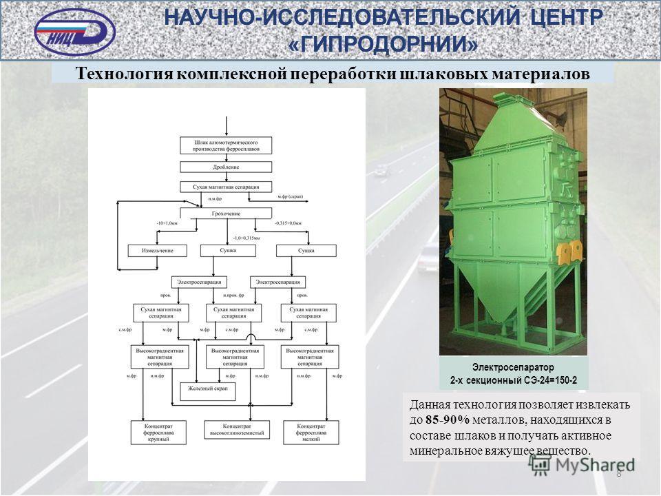 Технология комплексной переработки шлаковых материалов 8 Данная технология позволяет извлекать до 85-90% металлов, находящихся в составе шлаков и получать активное минеральное вяжущее вещество. НАУЧНО-ИССЛЕДОВАТЕЛЬСКИЙ ЦЕНТР «ГИПРОДОРНИИ» Электросепа