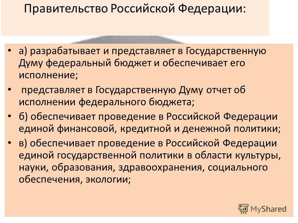 Правительство Российской Федерации: а) разрабатывает и представляет в Государственную Думу федеральный бюджет и обеспечивает его исполнение; представляет в Государственную Думу отчет об исполнении федерального бюджета; б) обеспечивает проведение в Ро
