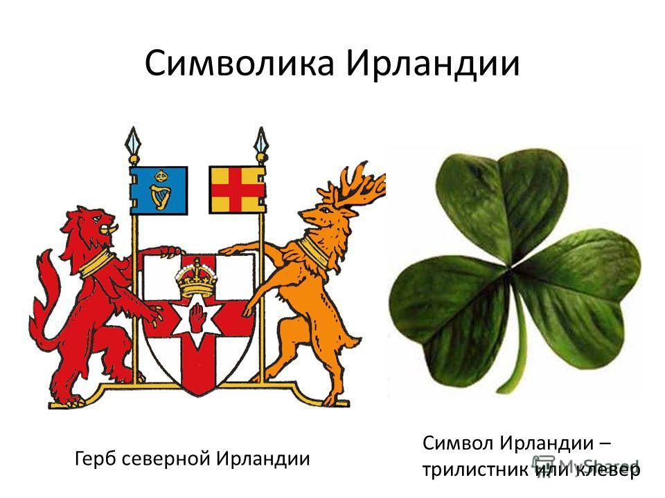Символика Ирландии Герб северной Ирландии Символ Ирландии – трилистник или клевер