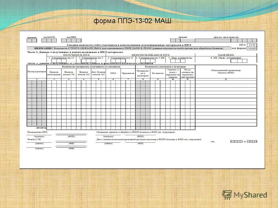 форма ППЭ-13-02 МАШ