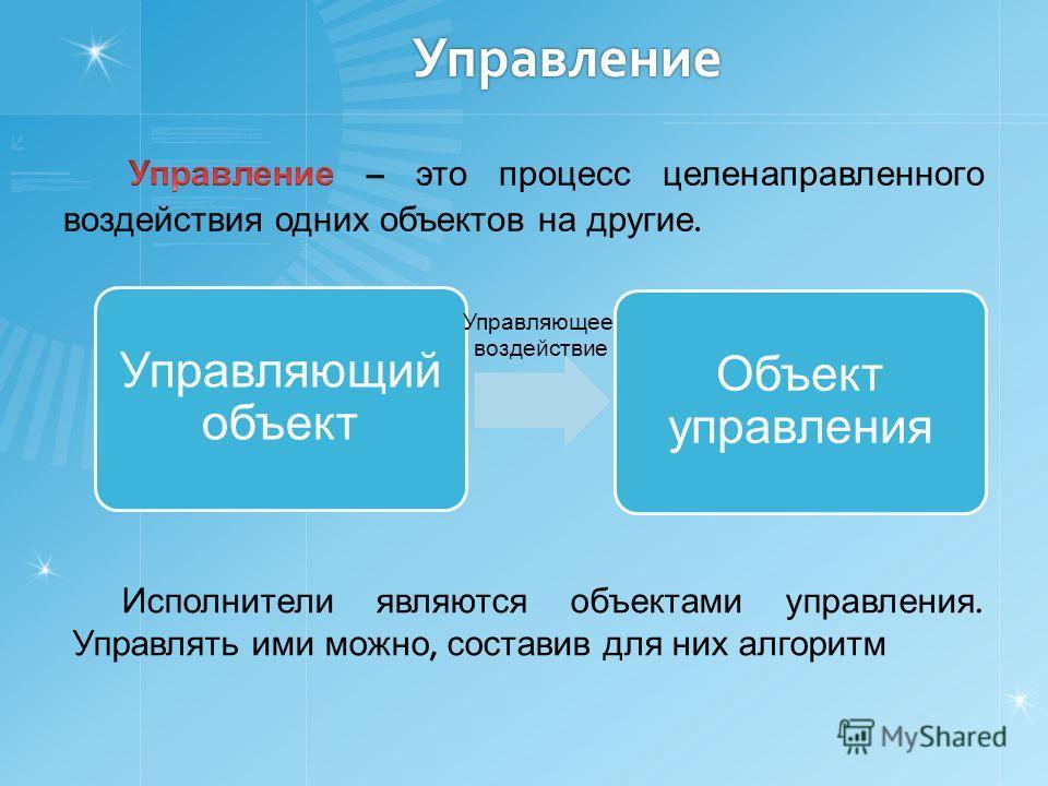 Управление Управляющий объект Объект управления Управляющее воздействие Исполнители являются объектами управления. Управлять ими можно, составив для них алгоритм