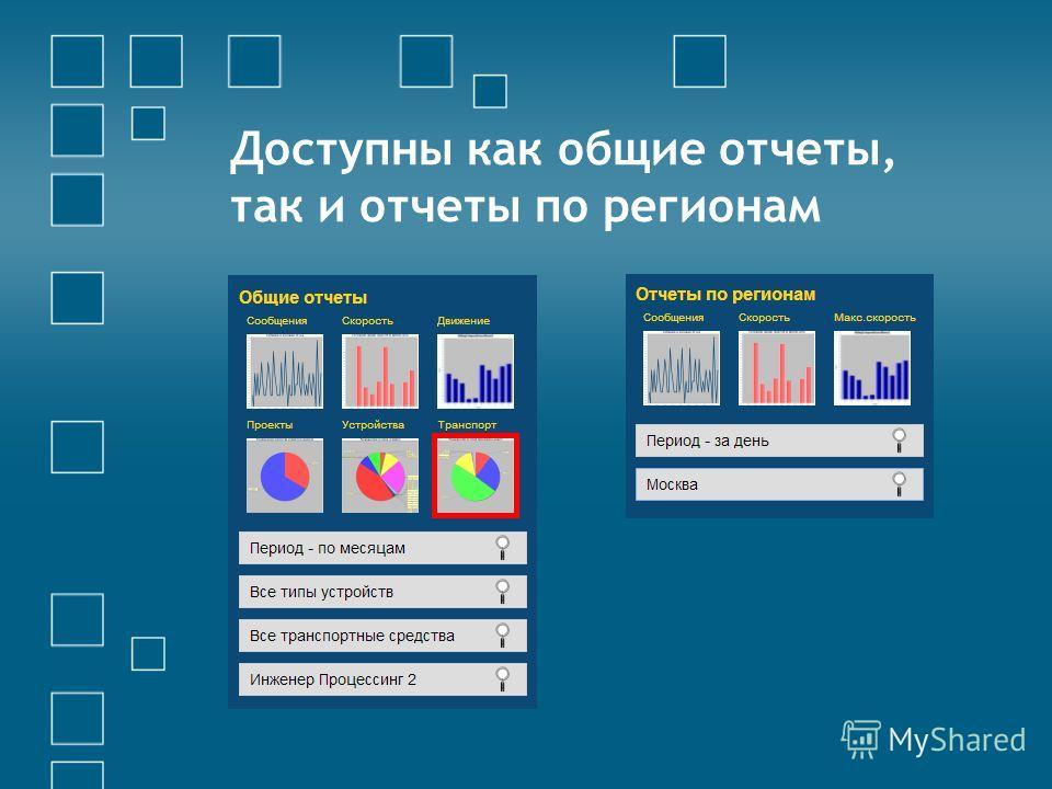 Доступны как общие отчеты, так и отчеты по регионам