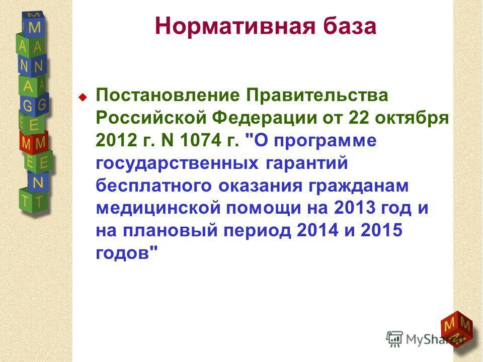 Нормативная база Постановление Правительства Российской Федерации от 22 октября 2012 г. N 1074 г. О программе государственных гарантий бесплатного оказания гражданам медицинской помощи на 2013 год и на плановый период 2014 и 2015 годов
