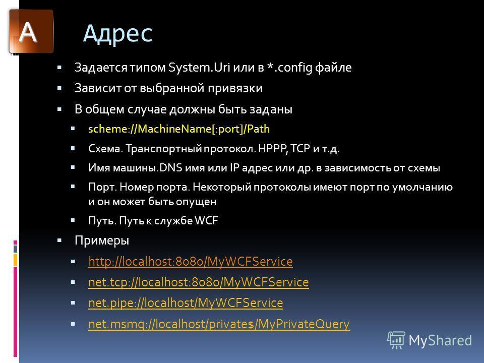Адрес Задается типом System.Uri или в *.config файле Зависит от выбранной привязки В общем случае должны быть заданы scheme://MachineName[:port]/Path Схема. Транспортный протокол. HPPP, TCP и т.д. Имя машины.DNS имя или IP адрес или др. в зависимость