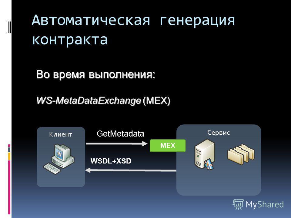 Автоматическая генерация контракта Клиент Сервис GetMetadata МЕХ WSDL+XSD Во время выполнения: WS-MetaDataExchange (MEX)