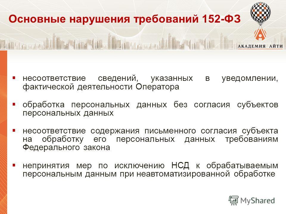 Основные нарушения требований 152-ФЗ несоответствие сведений, указанных в уведомлении, фактической деятельности Оператора обработка персональных данных без согласия субъектов персональных данных несоответствие содержания письменного согласия субъекта