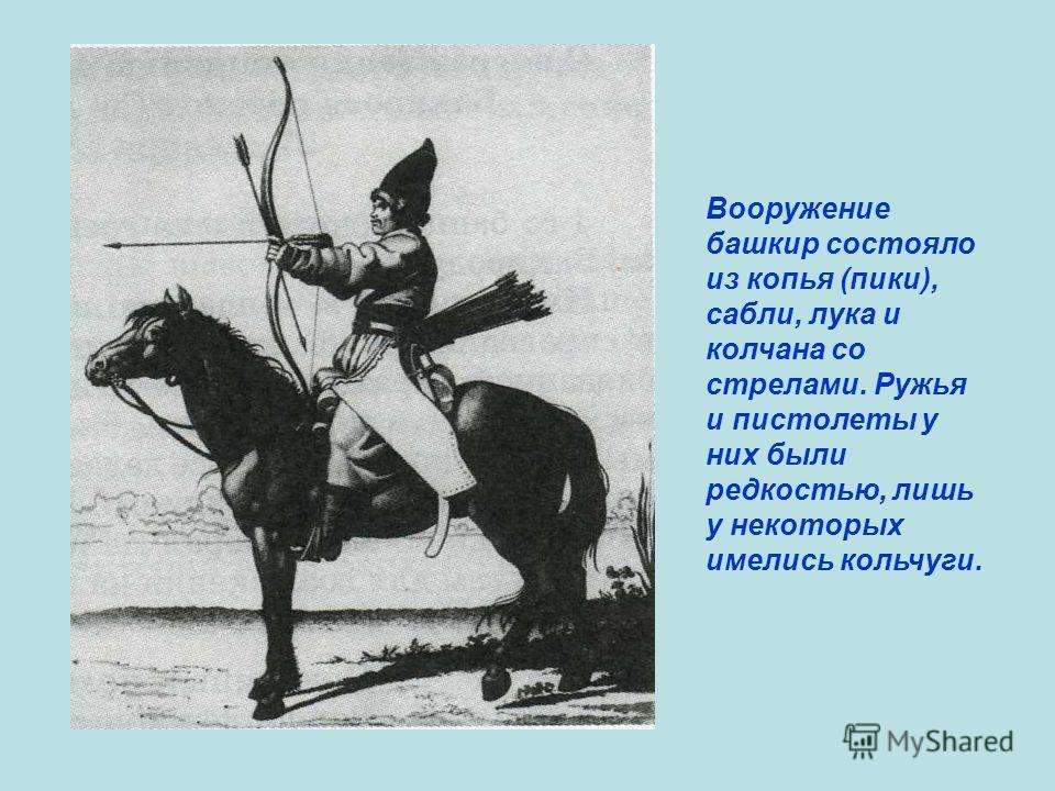 Вооружение башкир состояло из копья (пики), сабли, лука и колчана со стрелами. Ружья и пистолеты у них были редкостью, лишь у некоторых имелись кольчуги.