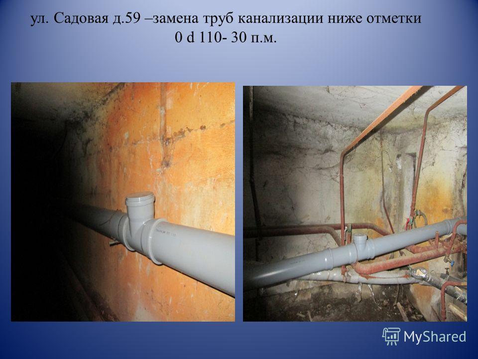 ул. Садовая д.59 –замена труб канализации ниже отметки 0 d 110- 30 п.м.