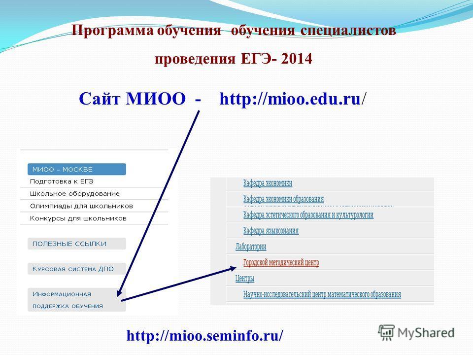 Программа обучения обучения специалистов проведения ЕГЭ- 2014 Сайт МИОО - http://mioo.edu.ru/ http://mioo.seminfo.ru/
