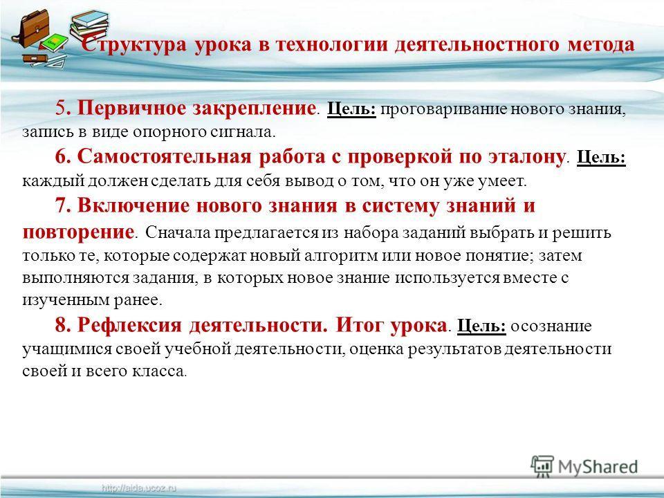 FokinaLida.75@mail.ru Структура урока в технологии деятельностного метода 5. Первичное закрепление. Цель: проговаривание нового знания, запись в виде опорного сигнала. 6. Самостоятельная работа с проверкой по эталону. Цель: каждый должен сделать для