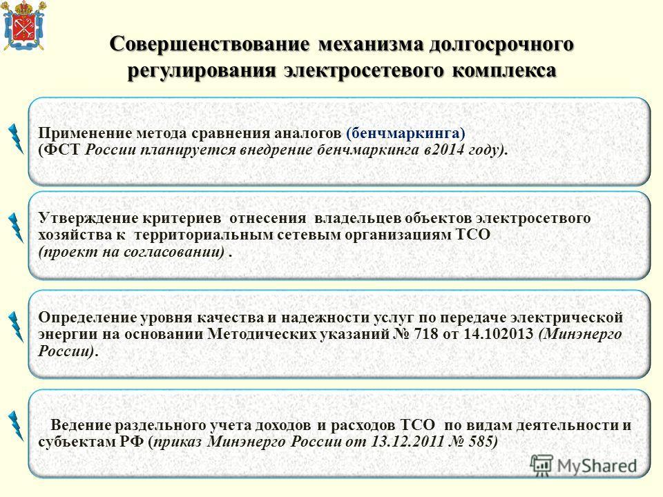 Совершенствование механизма долгосрочного регулирования электросетевого комплекса Применение метода сравнения аналогов (бенчмаркинга) (ФСТ России планируется внедрение бенчмаркинга в2014 году). Утверждение критериев отнесения владельцев объектов элек