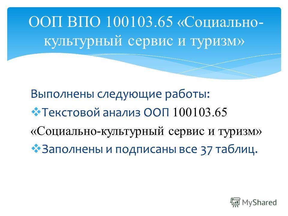 Выполнены следующие работы: Текстовой анализ ООП 100103.65 «Социально-культурный сервис и туризм» Заполнены и подписаны все 37 таблиц. ООП ВПО 100103.65 «Социально- культурный сервис и туризм»