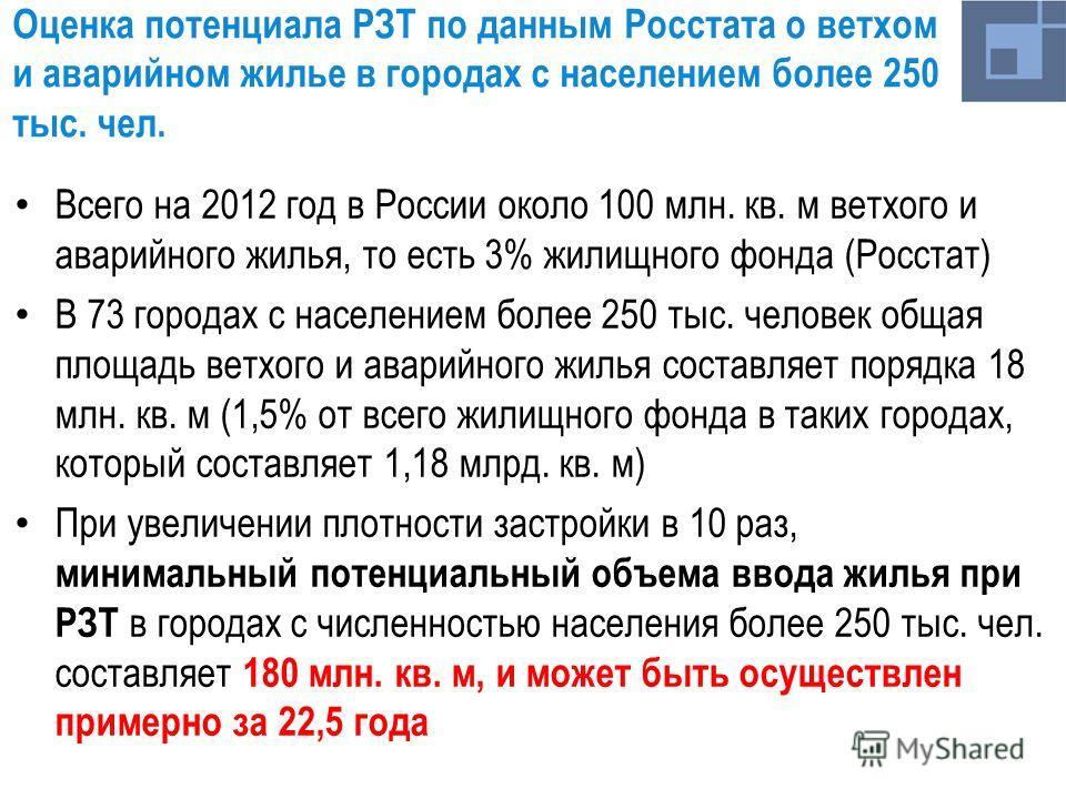 Оценка потенциала РЗТ по данным Росстата о ветхом и аварийном жилье в городах с населением более 250 тыс. чел. Всего на 2012 год в России около 100 млн. кв. м ветхого и аварийного жилья, то есть 3% жилищного фонда (Росстат) В 73 городах с населением