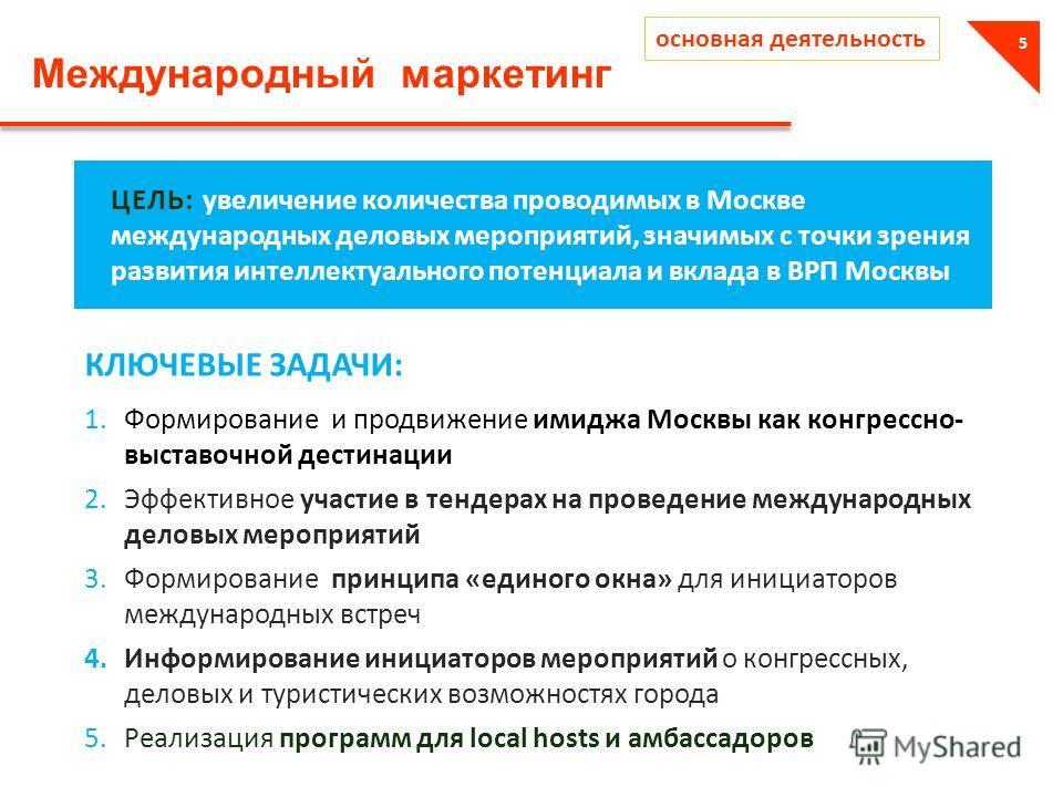 Международный маркетинг 5 ЦЕЛЬ: увеличение количества проводимых в Москве международных деловых мероприятий, значимых с точки зрения развития интеллектуального потенциала и вклада в ВРП Москвы 1.Формирование и продвижение имиджа Москвы как конгрессно
