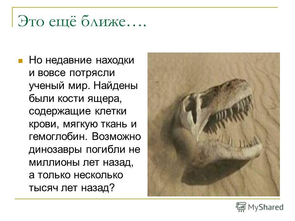 Это ещё ближе…. Но недавние находки и вовсе потрясли ученый мир. Найдены были кости ящера, содержащие клетки крови, мягкую ткань и гемоглобин. Возможно динозавры погибли не миллионы лет назад, а только несколько тысяч лет назад?