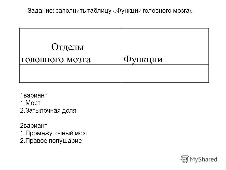 Отделы головного мозга Функции Задание: заполнить таблицу «Функции головного мозга». 1вариант 1.Мост 2.Затылочная доля 2вариант 1.Промежуточный мозг 2.Правое полушарие