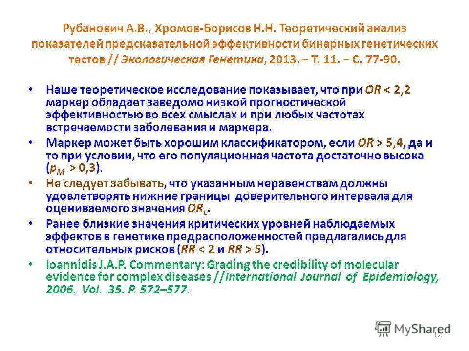 Рубанович А.В., Хромов-Борисов Н.Н. Теоретический анализ показателей предсказательной эффективности бинарных генетических тестов // Экологическая Генетика, 2013. – Т. 11. – С. 77 90. Наше теоретическое исследование показывает, что при OR < 2,2 маркер
