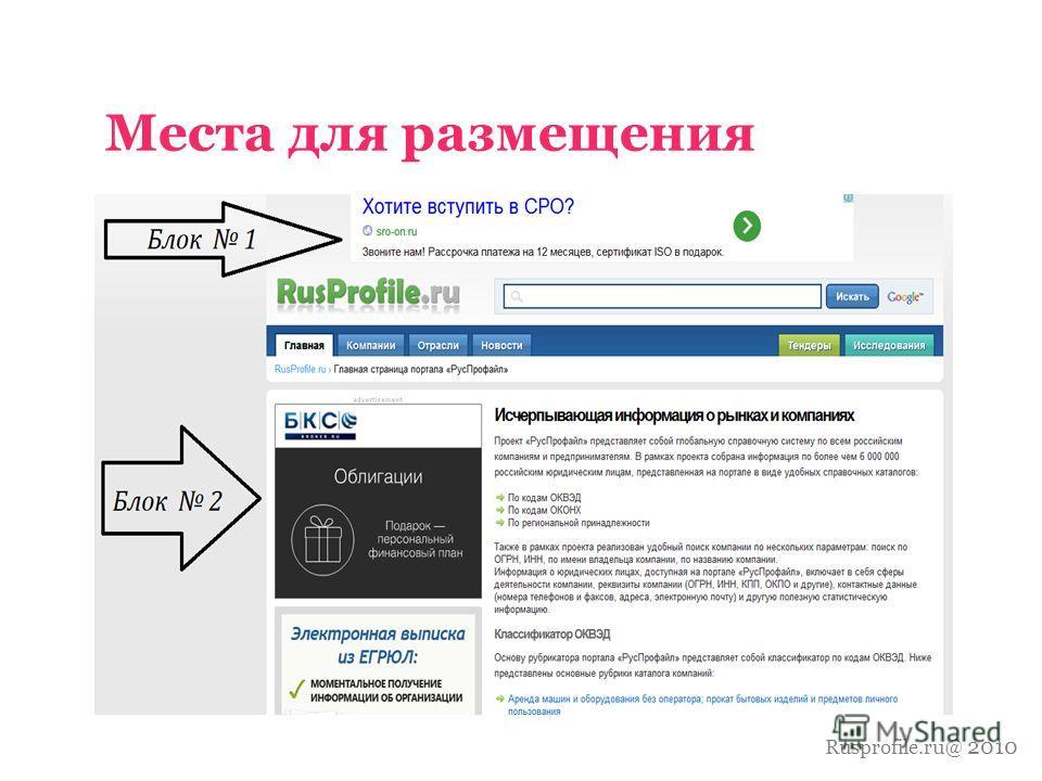 Rusprofile.ru@ 2010 Места для размещения