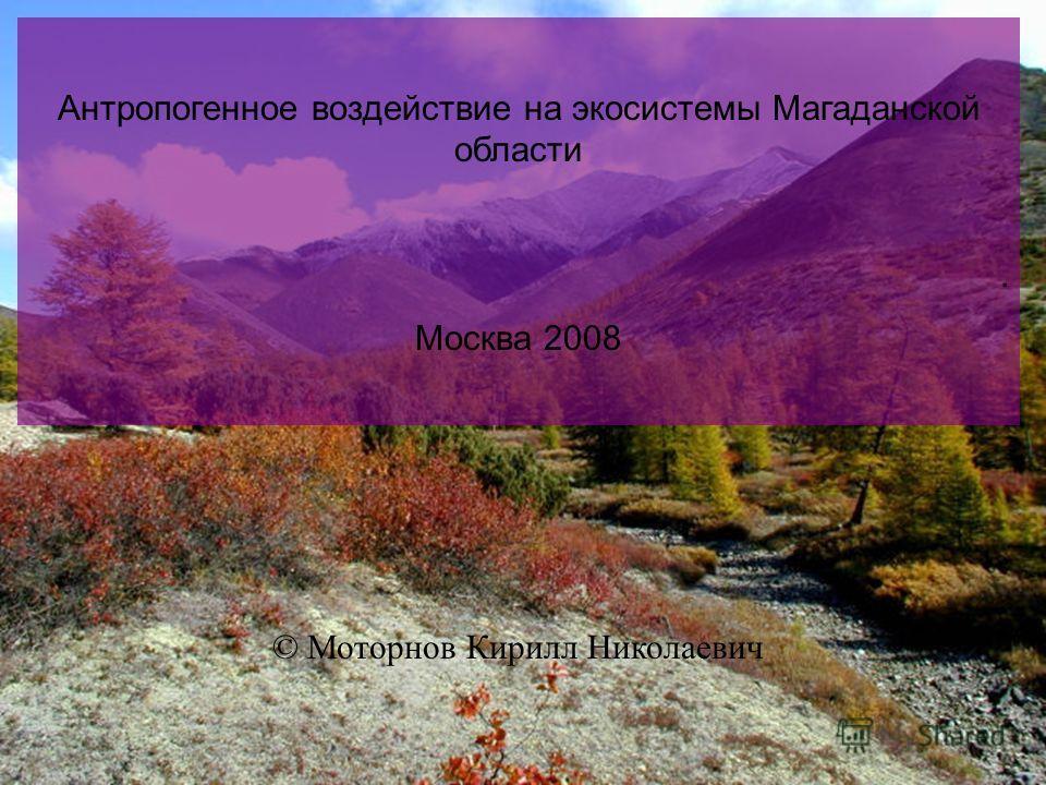 Антропогенное воздействие на экосистемы Магаданской области. Москва 2008 © Моторнов Кирилл Николаевич