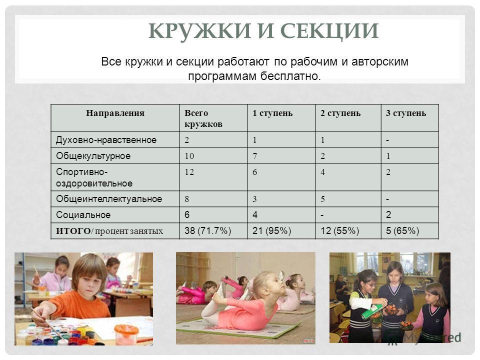 КРУЖКИ И СЕКЦИИ НаправленияВсего кружков 1 ступень2 ступень3 ступень Духовно-нравственное 211- Общекультурное 10721 Спортивно- оздоровительное 12642 Общеинтеллектуальное 835- Социальное64-2 ИТОГО/ процент занятых 38 (71.7%)21 (95%)12 (55%)5 (65%) Все