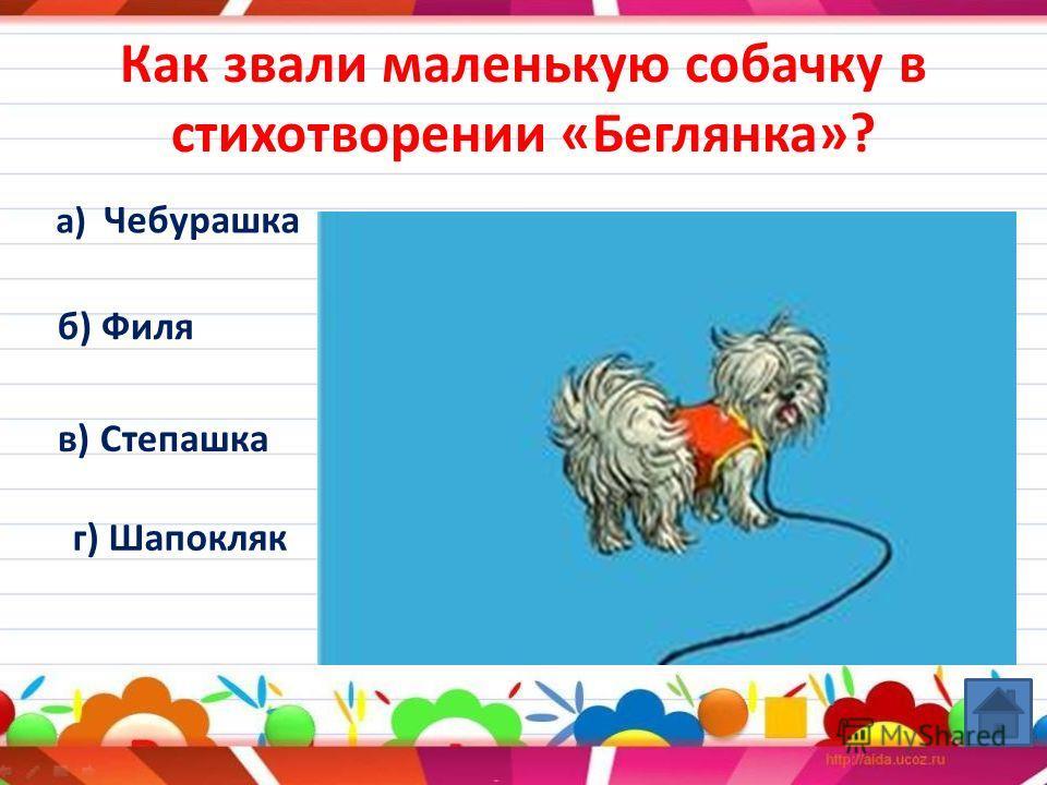 Как звали маленькую собачку в стихотворении «Беглянка»? а) Чебурашка б) Филя в) Степашка г) Шапокляк