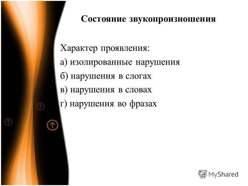 Состояние звукопроизношения Характер проявления: а) изолированные нарушения б) нарушения в слогах в) нарушения в словах г) нарушения во фразах