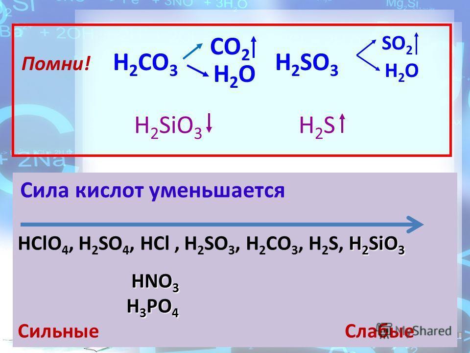 Помни! H 2 CO 3 CO 2 H 2 O H 2 SO 3 SO 2 H 2 O H 2 SiO 3 H2SH2S Сила кислот уменьшается H 2 SiO 3 HClO 4, H 2 SO 4, HCl, H 2 SO 3, H 2 СO 3, H 2 S, H 2 SiO 3 HNO 3 H 3 PO 4 Cильные Слабые