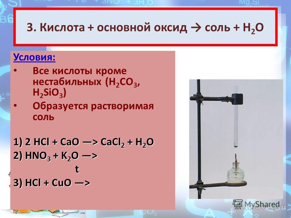 3. Кислота + основной оксид соль + Н 2 О Условия: Все кислоты кроме нестабильных (H 2 CO 3, H 2 SiO 3 ) Образуется растворимая соль 1) 2HCl + CaO > CaCl 2 + H 2 O 1) 2 HCl + CaO > CaCl 2 + H 2 O 2) HNO 3 + K 2 O > t 3) HCl + CuO >
