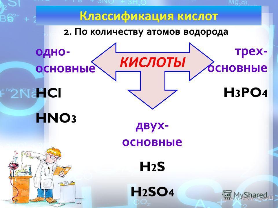 2. По количеству атомов водорода КИСЛОТЫ одно- основные HCl HNO 3 двух- основные H 2 S H 2 SO 4 трех- основные H 3 PO 4 Классификация кислот