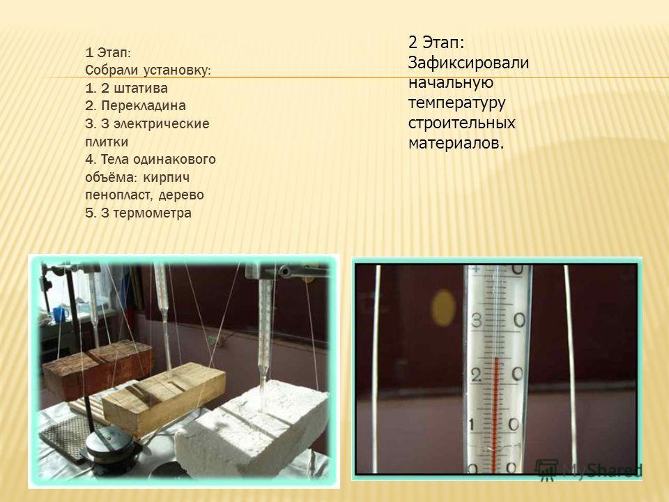 1 Этап: Собрали установку: 1. 2 штатива 2. Перекладина 3. 3 электрические плитки 4. Тела одинакового объёма: кирпич пенопласт, дерево 5. 3 термометра 2 Этап: Зафиксировали начальную температуру строительных материалов.