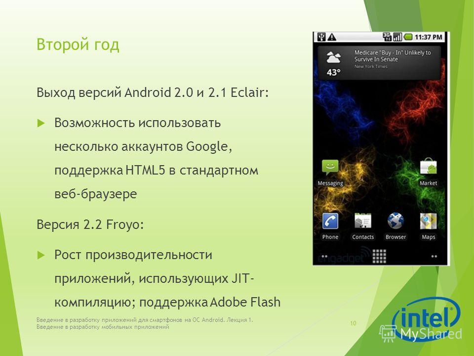 Второй год Выход версий Android 2.0 и 2.1 Eclair: Возможность использовать несколько аккаунтов Google, поддержка HTML5 в стандартном веб-браузере Версия 2.2 Froyo: Рост производительности приложений, использующих JIT- компиляцию; поддержка Adobe Flas