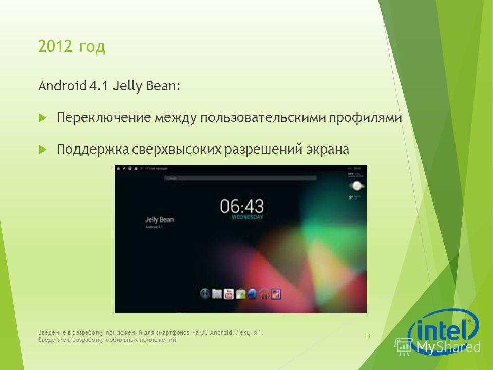 2012 год Android 4.1 Jelly Bean: Переключение между пользовательскими профилями Поддержка сверхвысоких разрешений экрана Введение в разработку приложений для смартфонов на ОС Android. Лекция 1. Введение в разработку мобильных приложений 14