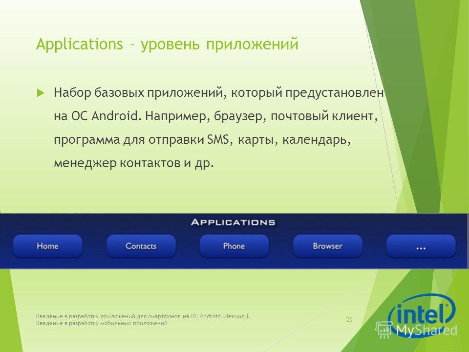 Applications – уровень приложений Набор базовых приложений, который предустановлен на ОС Android. Например, браузер, почтовый клиент, программа для отправки SMS, карты, календарь, менеджер контактов и др. Введение в разработку приложений для смартфон
