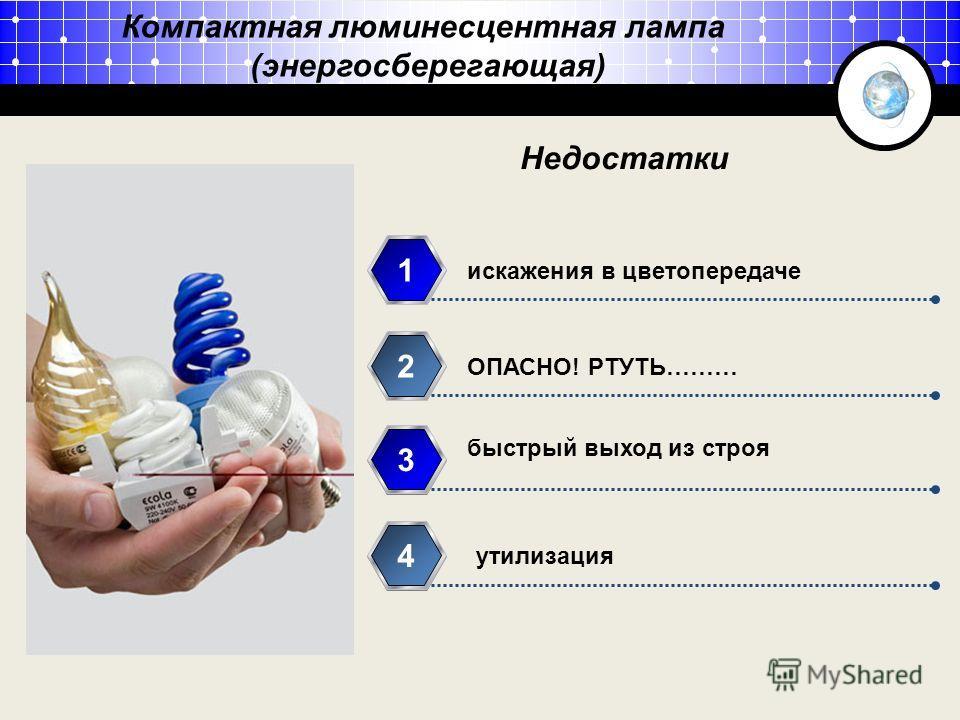 Компактная люминесцентная лампа (энергосберегающая) искажения в цветопередаче 1 ОПАСНО! РТУТЬ……… 2 быстрый выход из строя 3 утилизация 4 Недостатки