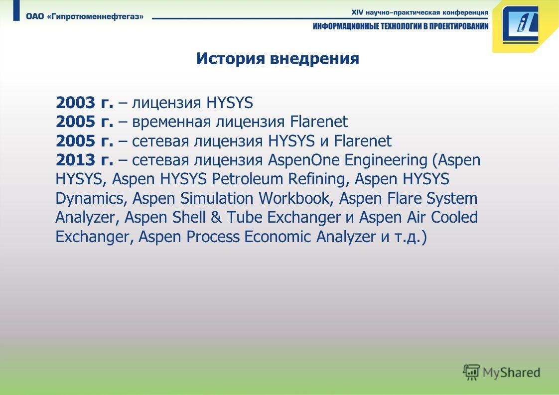 История внедрения 2003 г. – лицензия HYSYS 2005 г. – временная лицензия Flarenet 2005 г. – сетевая лицензия HYSYS и Flarenet 2013 г. – сетевая лицензия AspenOne Engineering (Aspen HYSYS, Aspen HYSYS Petroleum Refining, Aspen HYSYS Dynamics, Aspen Sim