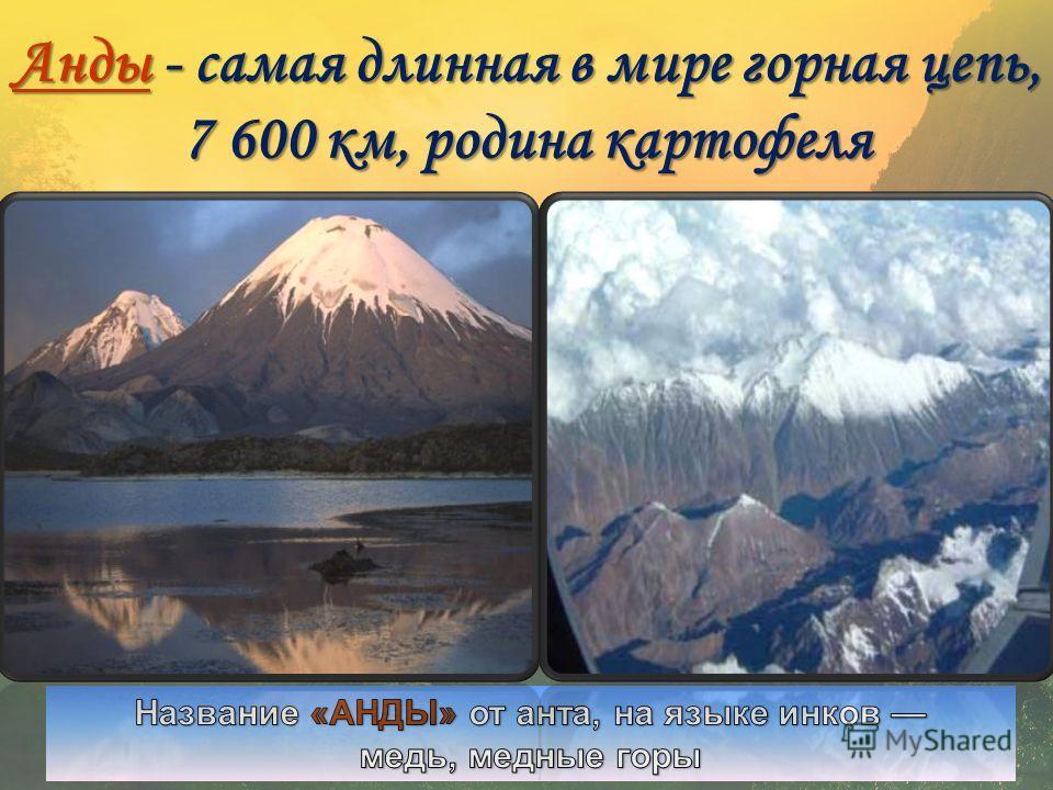 АААА нннн дддд ыыыы - самая длинная в мире горная цепь, 7 600 км, родина картофеля