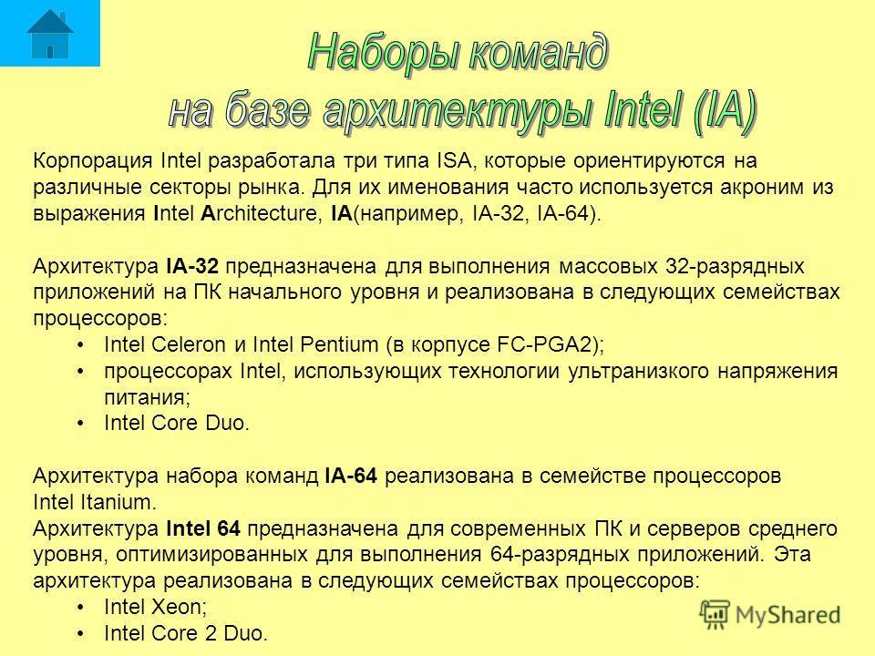 Корпорация Intel разработала три типа ISA, которые ориентируются на различные секторы рынка. Для их именования часто используется акроним из выражения Intel Architecture, IA(например, IA-32, IA-64). Архитектура IA-32 предназначена для выполнения масс