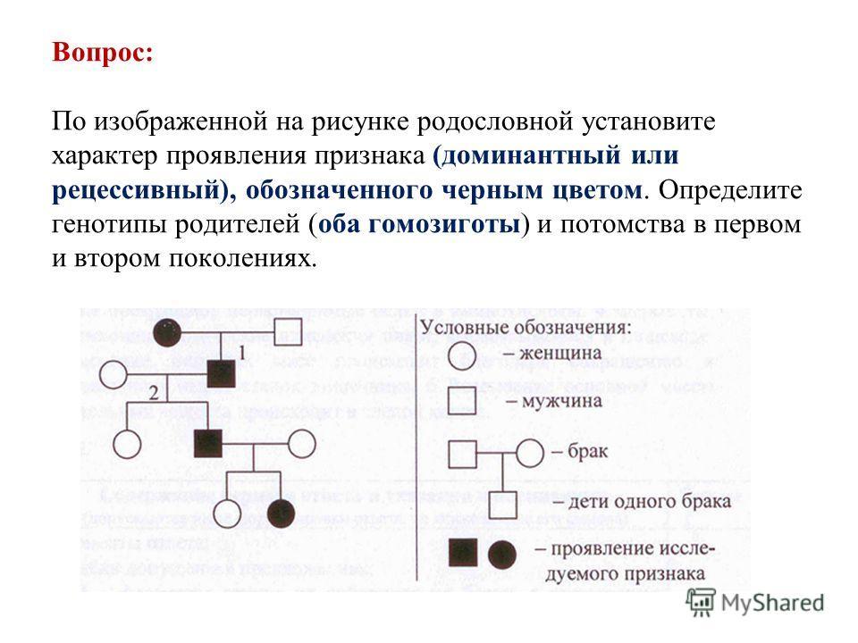 Вопрос: По изображенной на рисунке родословной установите характер проявления признака (доминантный или рецессивный), обозначенного черным цветом. Определите генотипы родителей (оба гомозиготы) и потомства в первом и втором поколениях.