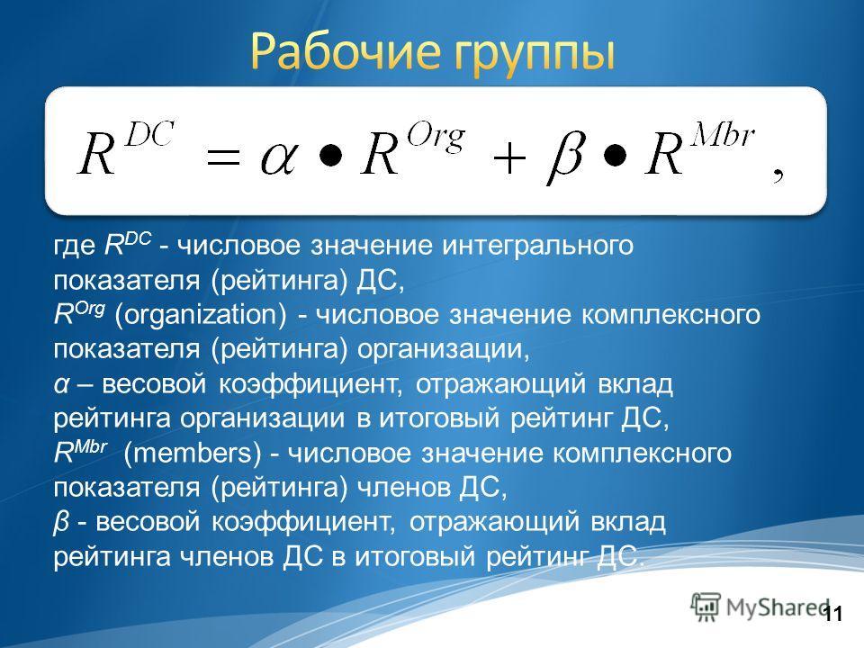 11 где R DC - числовое значение интегрального показателя (рейтинга) ДС, R Org (organization) - числовое значение комплексного показателя (рейтинга) организации, α – весовой коэффициент, отражающий вклад рейтинга организации в итоговый рейтинг ДС, R M