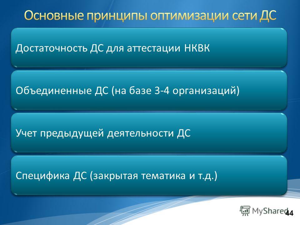 44 Достаточность ДС для аттестации НКВК Специфика ДС (закрытая тематика и т.д.) Учет предыдущей деятельности ДС Объединенные ДС (на базе 3-4 организаций)
